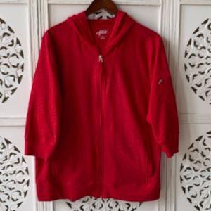 NWOT Red 3/4 sleeve hoodie!